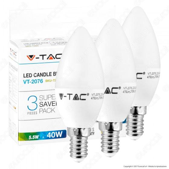 V-Tac VT-2055 Super Saver Pack Confezione 3 Lampadine LED E14 5W Candela - SKU 7263 / 7264 / 7265