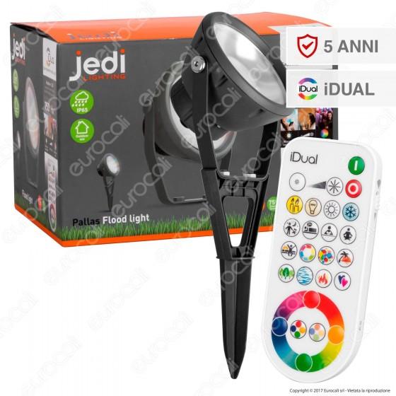 Jedi Lighting Faretto LED Pallas iDual RGB+W 16W da Esterno Multifunzione con Telecomando - 10 Prodotti in 1