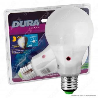 Duralamp Sensor Pir Lampadina LED E27 12W Bulb A65 con Sensore Crepuscolare e di Movimento