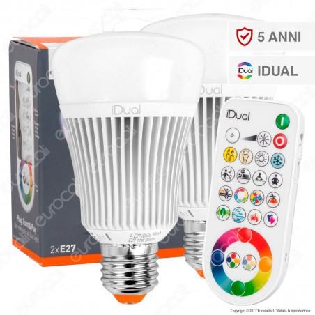 Jedi Lighting Set di 2 Lampadine LED E27 iDual RGB+W 11W Multifunzione con Telecomando - 10 Prodotti in 1 - mod. JE0127082