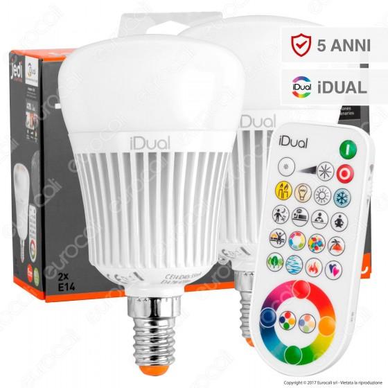 Jedi Lighting Set di 2 Lampadine LED E27 iDual RGB+W 11W Multifunzione con Telecomando - 10 Prodotti in 1