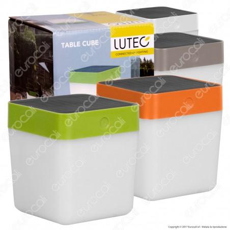 Lutec Lampada LED da Tavolo Solare Cube 1W con Pannello Solare - Disponibile in 4 Colorazioni - mod. P9080-3K