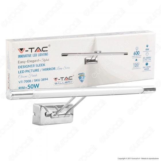 V-Tac VT-7008 Lampada da Specchio Wall Light Cromata 8W - SKU 3894