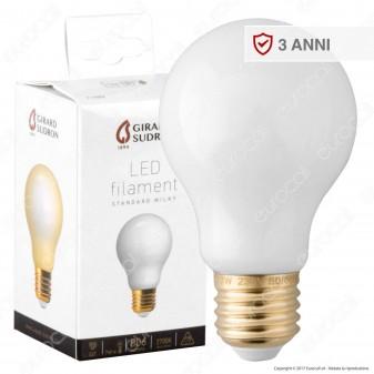 Girard Sudron Lampadina LED E27 7W Bulb A60 Milky Filamento