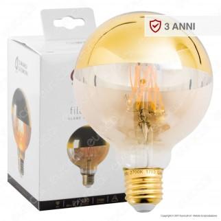Girard Sudron Lampadina LED E27 8W Globo G95 Filamento Dimmerabile Ambrata Calotta Dorata