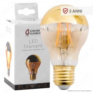 Girard Sudron Lampadina LED E27 8W Bulb A60 Filamento Dimmerabile Ambrata Calotta Dorata