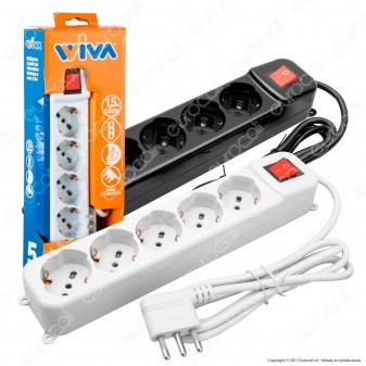 Wiva Multipresa 5 Posti con Spina Salvaspazio - Colore Bianco o Nero - mod. 31500615