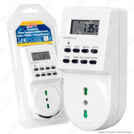 Life Timer Digitale Temporizzatore Settimanale Programmabile Presa Bivalente - mod. 381040104