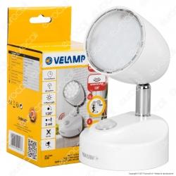 Velamp Byron Faretto LED da Muro 2W Alimentato a Batterie con Sensore di Movimento - mod.IL50