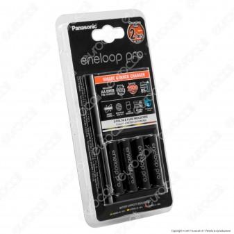 Panasonic Eneloop PRO Caricabatterie Rapido BQ CC55E + 4 Pile Stilo AA 2500 mAh