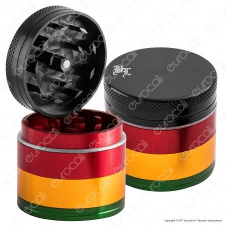 Grinder Tritatabacco Black Leaf 4 Parti Colorazione Rasta
