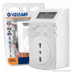Velamp Timer Digitale Temporizzatore Settimanale Programmabile Presa Bivalente - mod.SH005