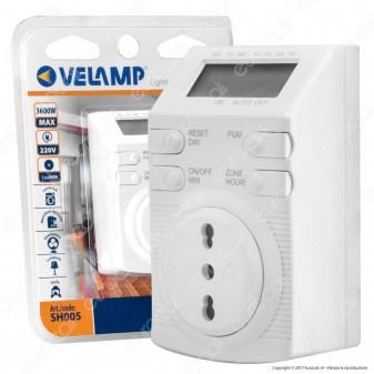Velamp Timer Digitale Temporizzatore Settimanale Programmabile Presa Bivalente