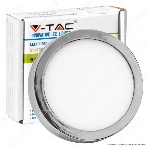 V-Tac VT-605CH RD Pannello LED Rotondo 6W SMD Cromato con Driver - SKU 6358 / 6359