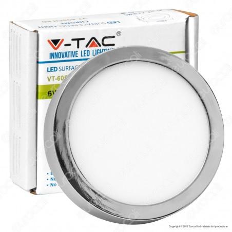 V-Tac VT-605CH RD Pannello LED Rotondo 6W SMD Cromato con Driver - SKU 6358 / 6359 / 6360
