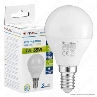 V-Tac VT-2098 Lampadina LED E14 7W MiniGlobo P45 - SKU 7321 / 7322 / 7323