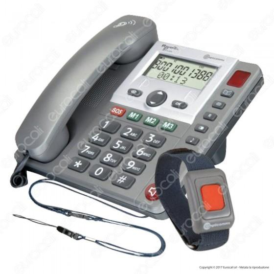 Amplicomms PowerTel 97 Telefono Fisso con Segreteria e Bracciale SOS per Portatori di Apparecchi Acustici