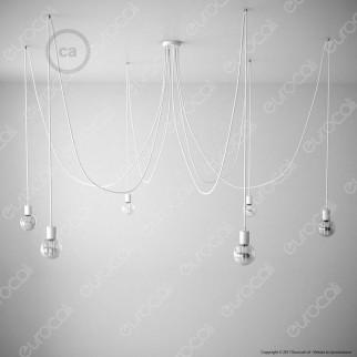 Creative Cables Spider Sospensione Multipla a 5-6-7 Cadute Metallo Bianco