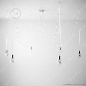 Creative Cables Spider Sospensione Multipla a 5-6-7 Cadute Metallo Cromato