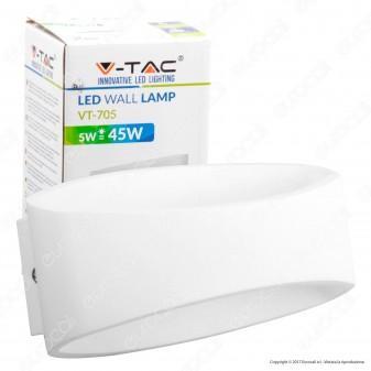 V-Tac VT-705 Lampada da Muro Wall Light LED 5W Forma Arrotondata Colore Bianco - SKU 8208 / 8232