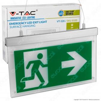 V-Tac VT-520 Lampada LED a Sospensione con Montaggio Superficiale 160lm d'Emergenza Anti Black Out
