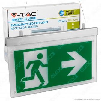 V-Tac VT-520 Lampada LED a Sospensione con Montaggio a Incasso 160lm d'Emergenza Anti Black Out - SKU 8200