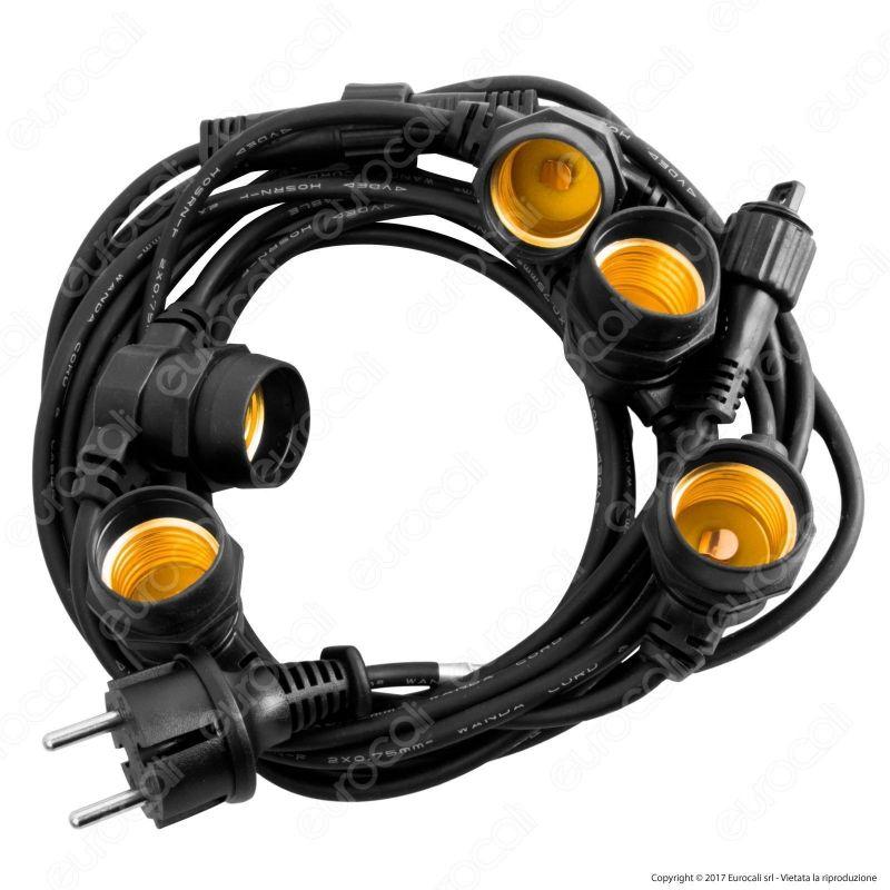 Catenaria 5 metri per 5 lampadine led eco watts e27 for Lampadine led 5 watt