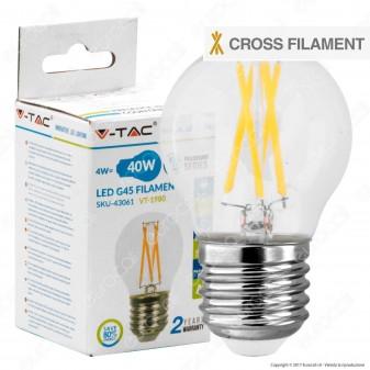 V-Tac VT-1980 Lampadina LED E27 4W MiniGlobo G45 Cross Filament - SKU 43061