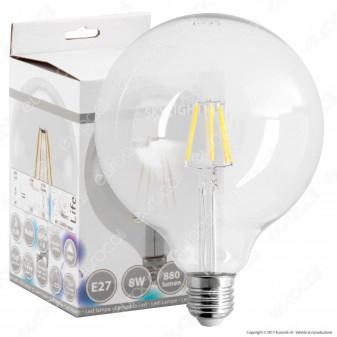 SkyLighting Lampadina LED E27 8W Globo G125 Filamento
