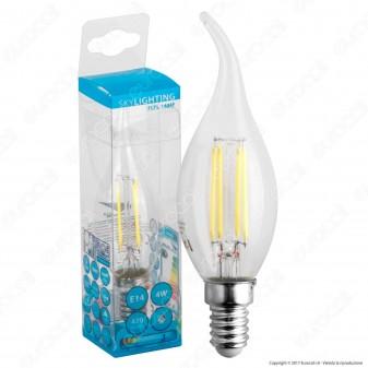 SkyLighting Lampadina LED E14 4W Candela Fiamma a Filamento