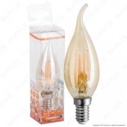 SkyLighting Lampadina LED E14 4W Candela Fiamma Filamento Ambrata - mod. FCFL-1404A