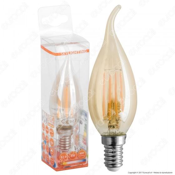 SkyLighting Lampadina LED E14 4W Candela Fiamma a Filamento Ambrata