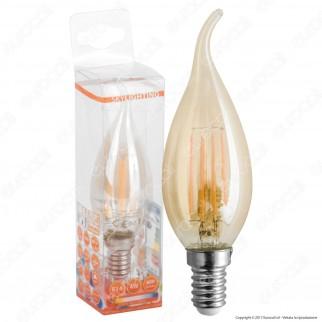 SkyLighting Lampadina LED E14 4W Candela Fiamma Filamento Ambrata