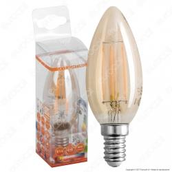 SkyLighting Lampadina LED E14 4W Candela Filamento Ambrata - mod. HCFL-1404A