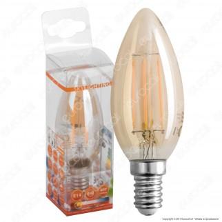 SkyLighting Lampadina LED E14 4W Candela Filamento Ambrata