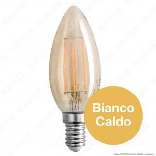 SkyLighting Lampadina LED E14 4W Candela a Filamento Ambrata