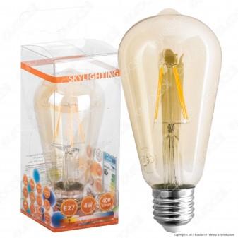 Skylighting Lampadina LED E27 4W Bulb ST64 Filamento Ambrata