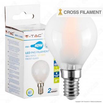 V-Tac VT-1835 Lampadina LED E14 4W MiniGlobo P45 Cross Filament Frost - SKU 44921