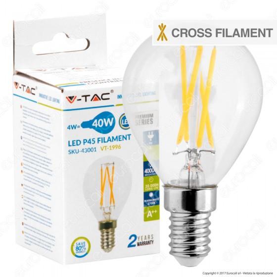V-Tac VT-1996 Lampadina LED E14 4W MiniGlobo P45 Cross Filament - SKU 43001