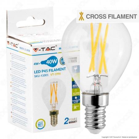 V-Tac VT-1996 Lampadina LED E14 4W MiniGlobo P45 Cross Filament - SKU 43001 / 44251
