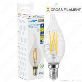 V-Tac VT-1985D Lampadina LED E14 4W Candela Fiamma Twist Cross Filament - SKU 43881