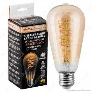 V-Tac VT-2144 Lampadina LED E27 4W Bulb ST64 Filamento Ambrata Dimmerabile - SKU 7327