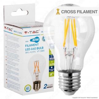 V-Tac VT-1885 Lampadina LED E27 4W Bulb A60 Cross Filament - SKU 42591