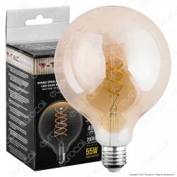 V-Tac VT-2126 Lampadina LED E27 6W Globo G125 Filamento Ambrata Dimmerabile - SKU 7328