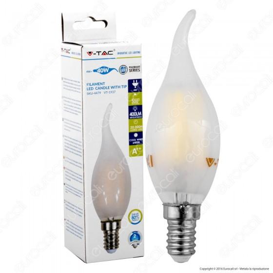 V-Tac VT-1937 Lampadina LED E14 4W Candela Fiamma Frost Filamento - SKU 4477 / 4478 / 4479