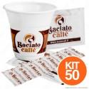 Kit da 50 Bicchierini + 50 Palettine + 50 Bustine di Zucchero Baciato Caffè