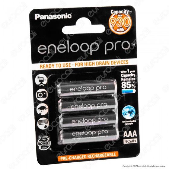 Panasonic Eneloop Pro 930mAh Pile Ricaricabili Ministilo AAA - Blister 4 Batterie