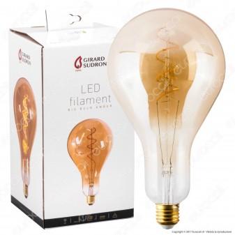 Girard Sudron Lampadina LED E27 4W Big Bulb Filamento Ambrata Dimmerabile