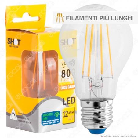 Bot Lighting Shot Lampadina LED E27 7,5W Bulb A60 Filamento Extra-Lungo Dimmerabile - mod. WLD1008X2D