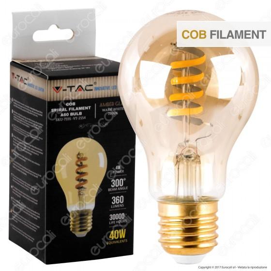V-Tac VT-2154 Lampadina LED E27 4W Bulb A60 Filamento COB Ambrata - SKU 7335